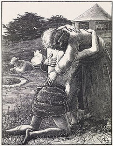 Prodigal son hugging his father